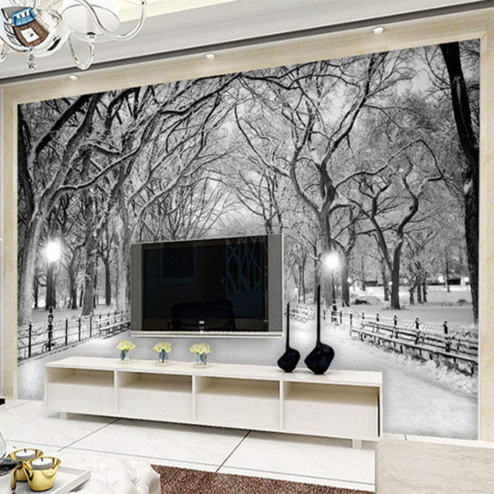 Blanco Y Negro Nieve Paisaje Foto Mural Papel Tapiz 3D ...