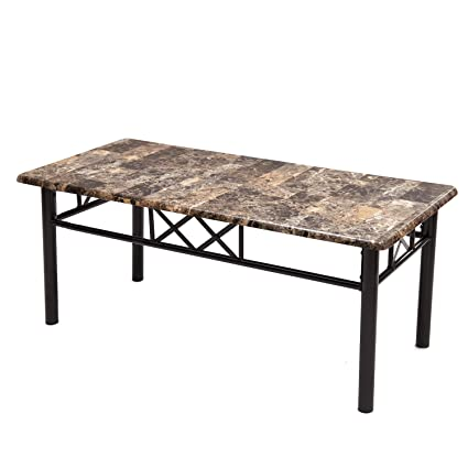 Exceptionnel Adeco Coffee Occasional Table, Faux Marble Top, Black Metal Baseu0026 Legs,  Black Metal