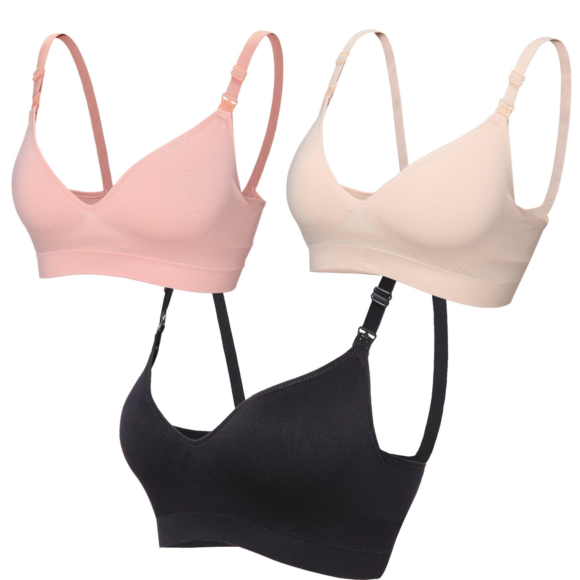 BAOMOSI Women's Seamless Nursing Maternity Bra Push Up Comfort Sleep Bralette, 3pack(beige+black+pink), Medium