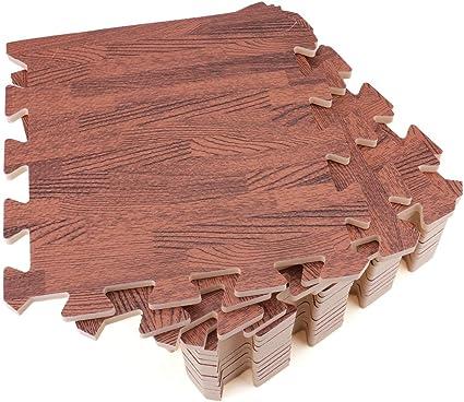 Amazon Com Tebery 16 Pieces Printed Wood Grain Floor Tiles 3 8