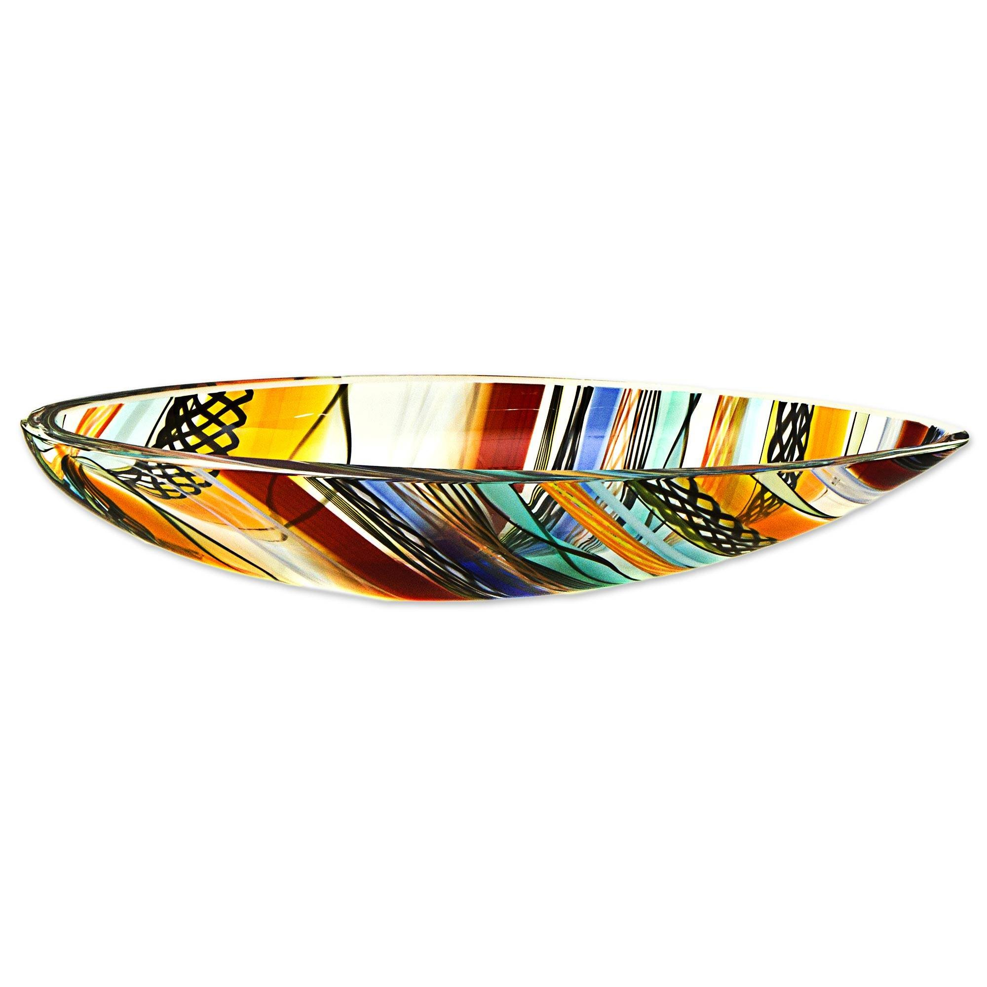 NOVICA Colorful Green and Yellow Striped Art Glass Handmade Centerpiece Bowl, Rainbow Eclipse'