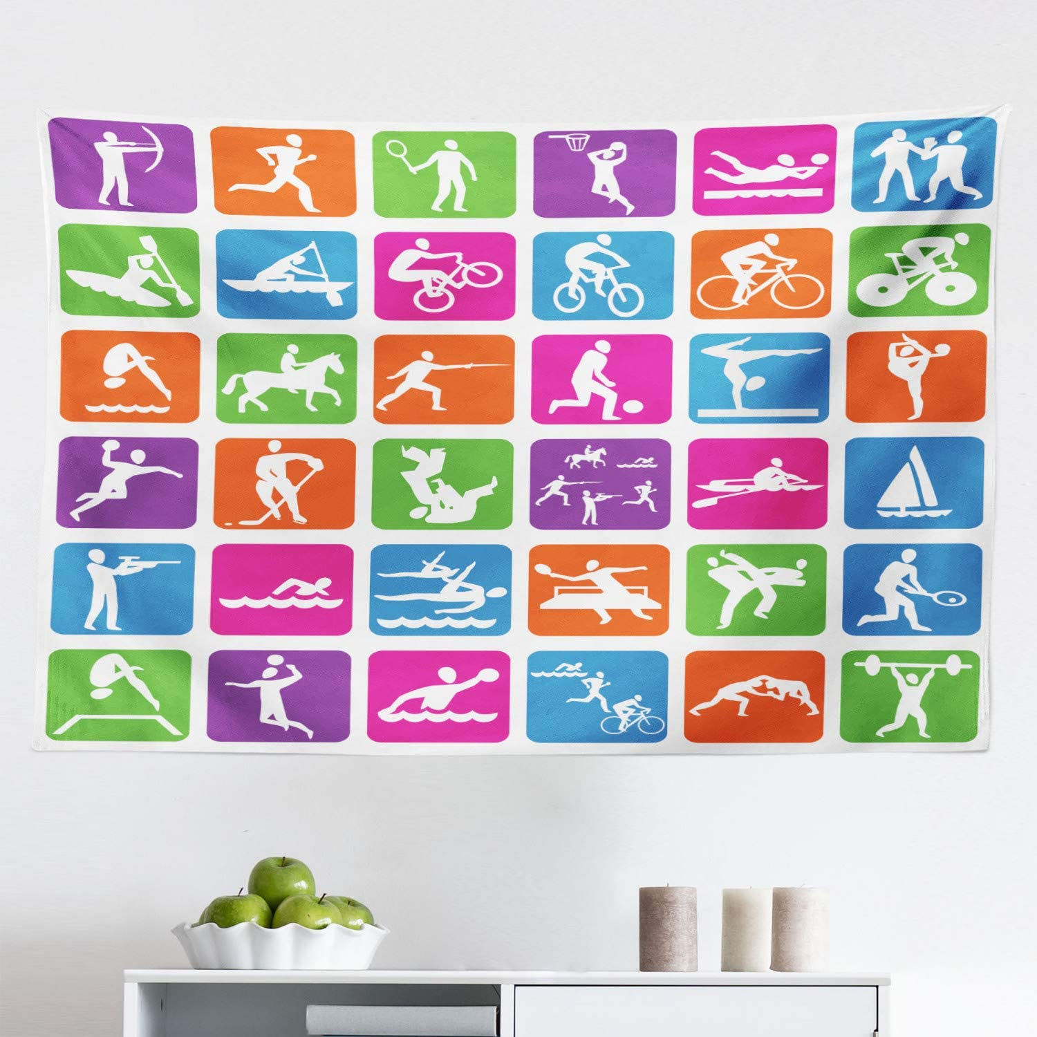 """Lunarable Olympics Tapestry, Group with 36 Sport Basketball Cycling Diving Mountain Bike Wrestling, Fabric Wall Hanging Decor for Bedroom Living Room Dorm, 45"""" X 30"""", Magenta Blue"""