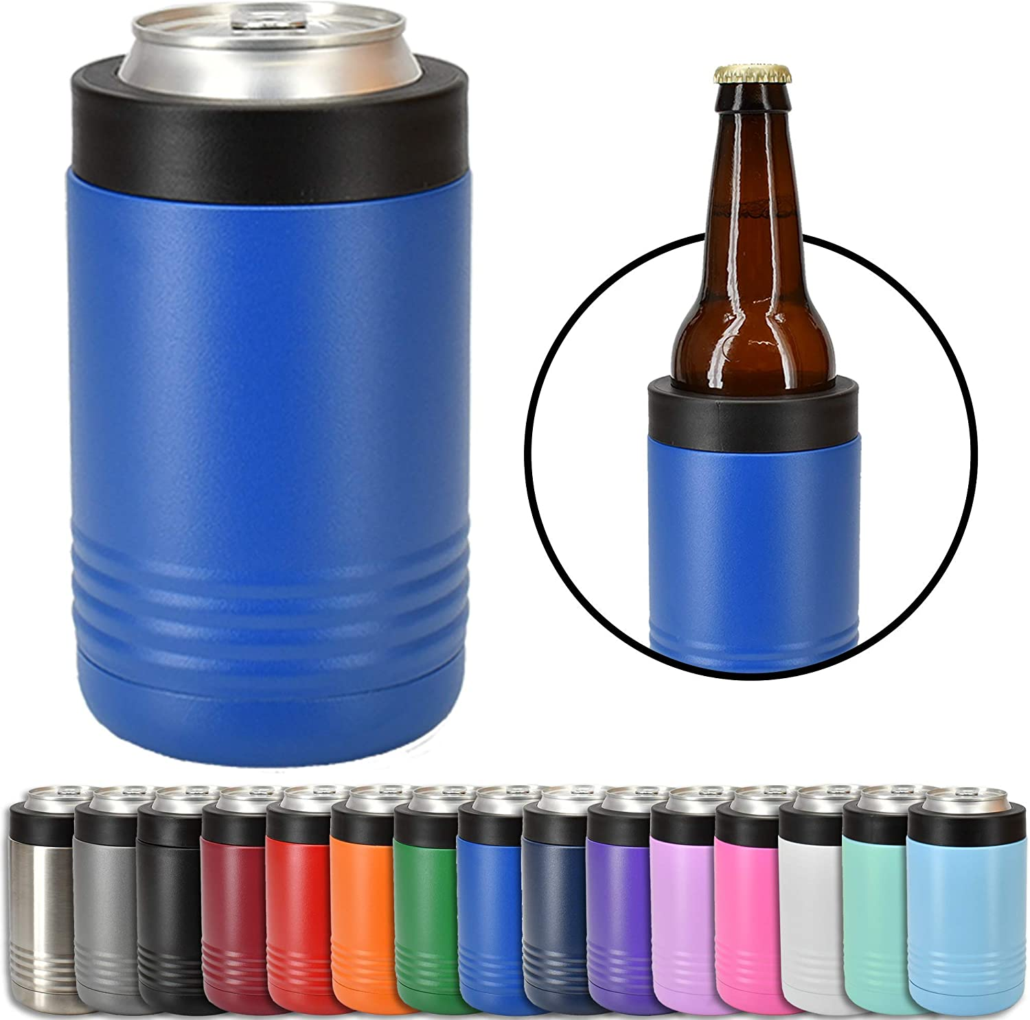Clear Water Home Goods - 12 oz Stainless Steel Double Wall Vacuum Insulated Can or Bottle Cooler Keeps Beverage Cold for Hours - Powder Coated Royal Blue