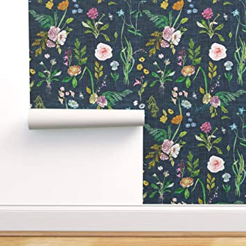 Peel-and-Stick Removable Wallpaper Navy Blue Navy Texture Solid Navy