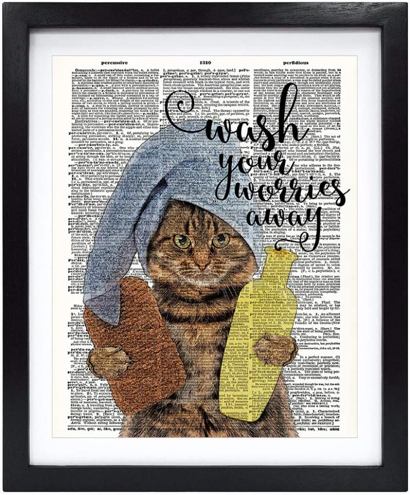 Susie Arts 8X10 Unframed Bathroom Quotes Wash Your Worries Away Cat Prints Upcycled Vintage Dictionary Art Print Book Art Print Home Decor Wall Art V199