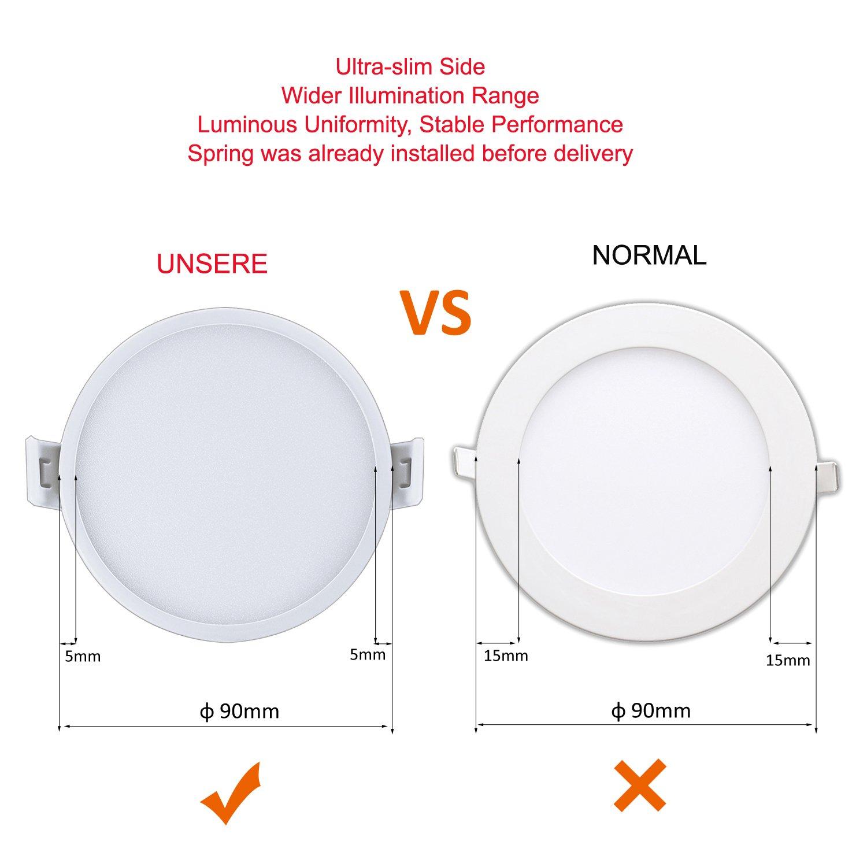 Liqoo® 6W Focos LED Panel Luz de Techo Downlight Ultra delegada Transformador Incluido Redondo Blanco Cálido 3000K 30 leds Ángulo de visión 120° ...