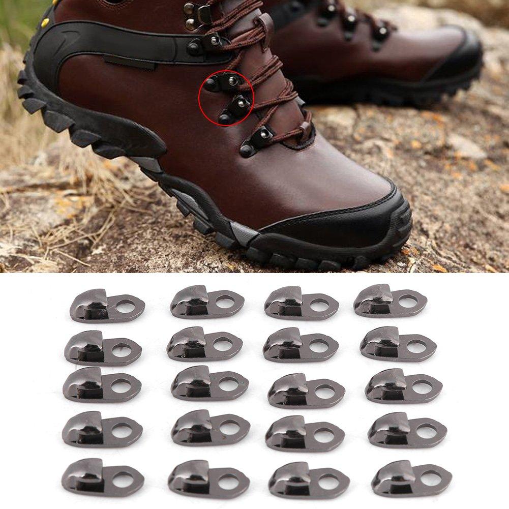 SALAKA 20 Piezas de Ganchos de Encaje para Zapatos con Remaches para Escalar Zapatos de Senderismo Botas de monta/ñismo para Exteriores Bronce