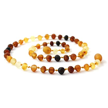Raw Baltic Amber Teething Necklace and Bracelet // Anklet Set for Baby - Modern Rainbow Color - BoutiqueAmber /(Modern Rainbow/)