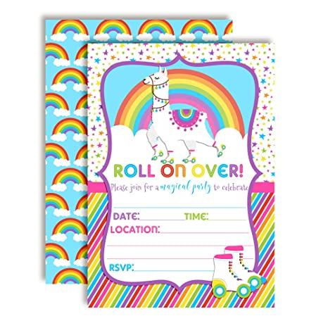Colorful Llama Rainbow Roller Skating Birthday Party Invitations 20 5x7 Fill In Cards With Twenty White Envelopes By AmandaCreation