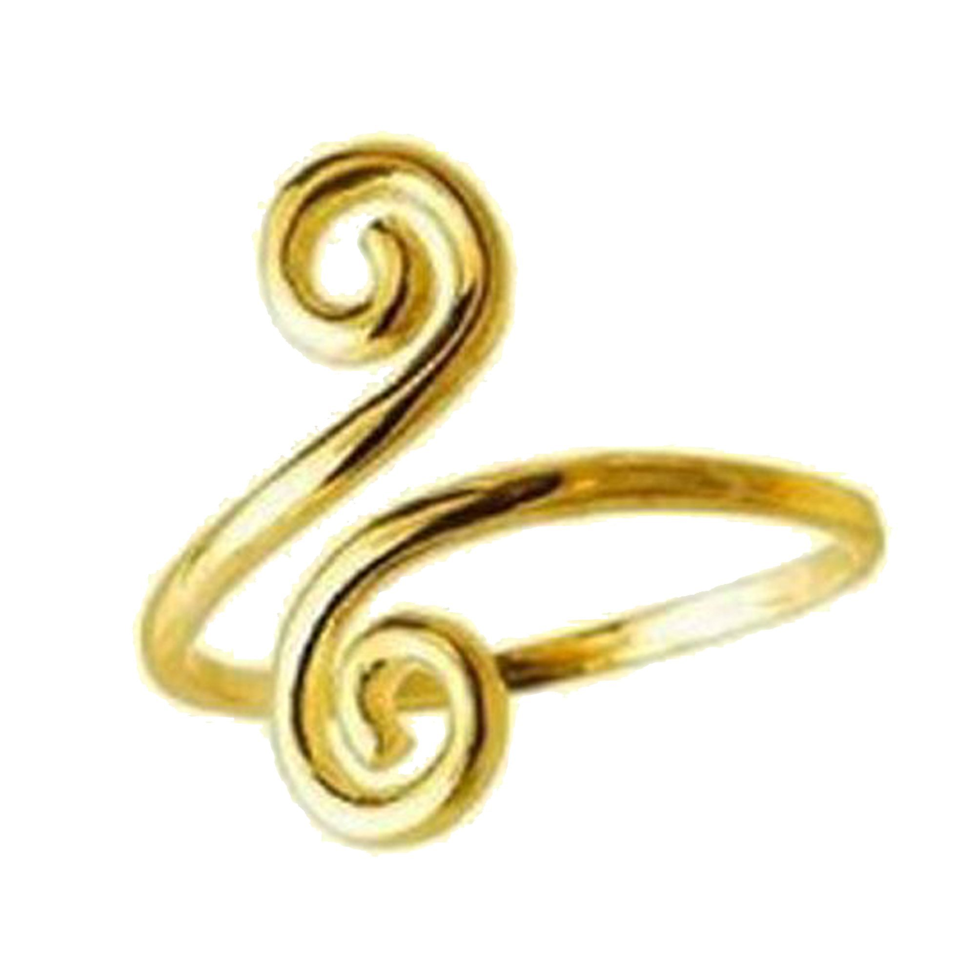 14k Solid Yellow Gold Swirl Adjustable Ring or Toe Ring