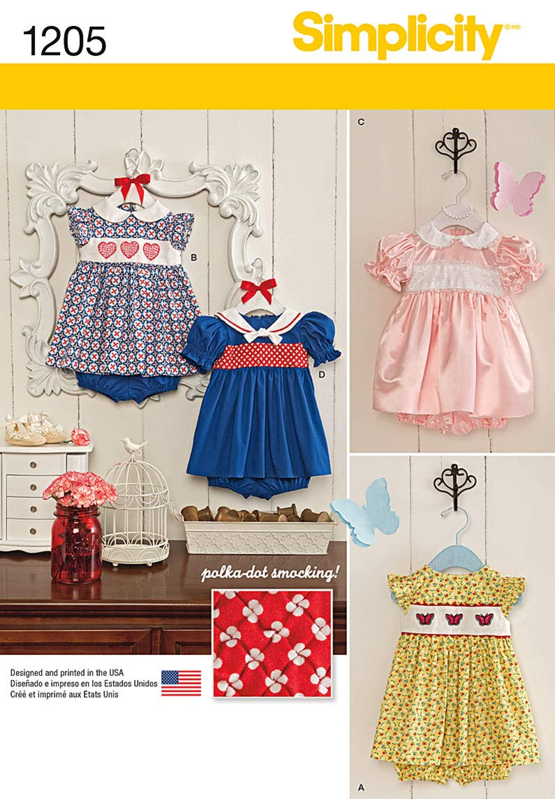 Simplicity Creative Patterns 1205 Babies' Dress and Panties, A (XXS-XS-S-M-L) OUTLOOK GROUP CORP