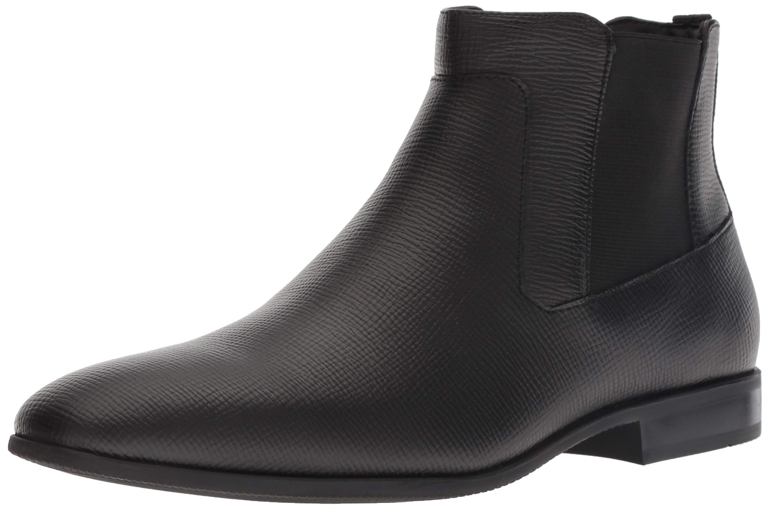 Calvin Klein Men's CHRISTOFF EPI Leather Chelsea Boot, Black, 9.5 M M US