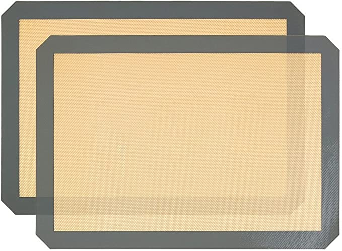 2er-Set Silikon-Backmatten mit Pyramiden-Noppen antihaftbeschichtet