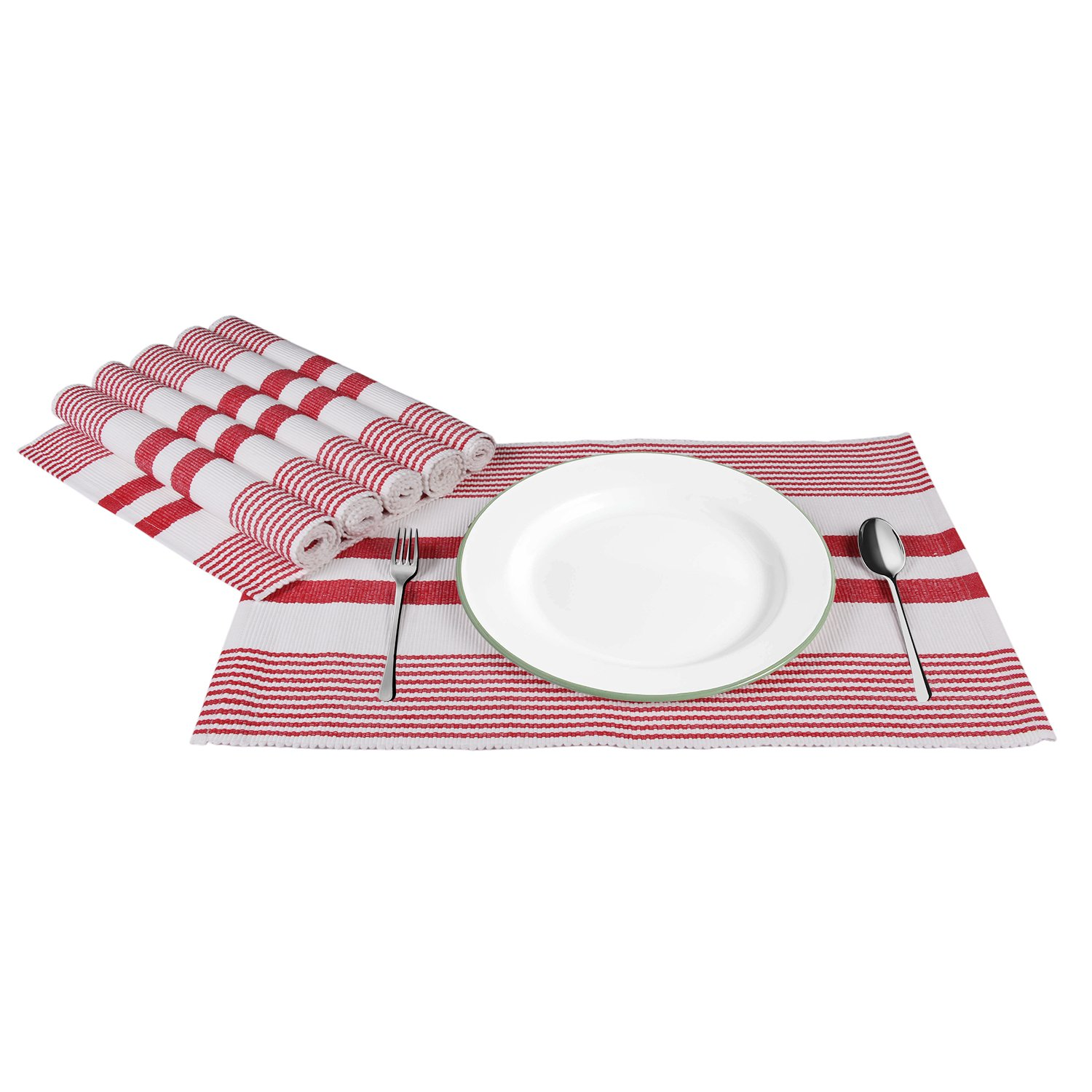 "Icrafts Set of 6 Cotton placemats Table Mats Kitchen Dining Essentials in Stripes Everyday Use Machine Washable 20 x 13"" (Red)"