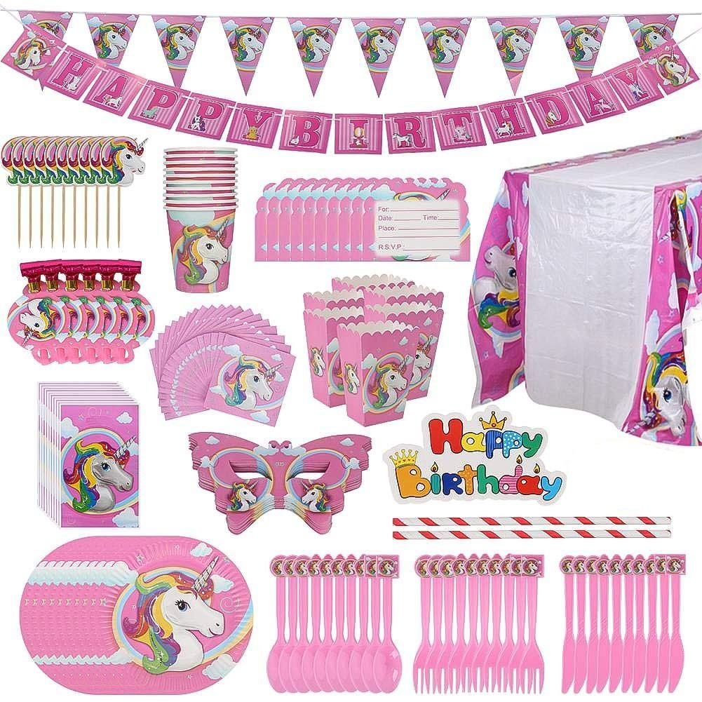 126 Pieces Unicorn Party Supplies Pack, Comes with Disposable Tableware and Birthday Party Decoration Favors for Kids, 16 Varieties