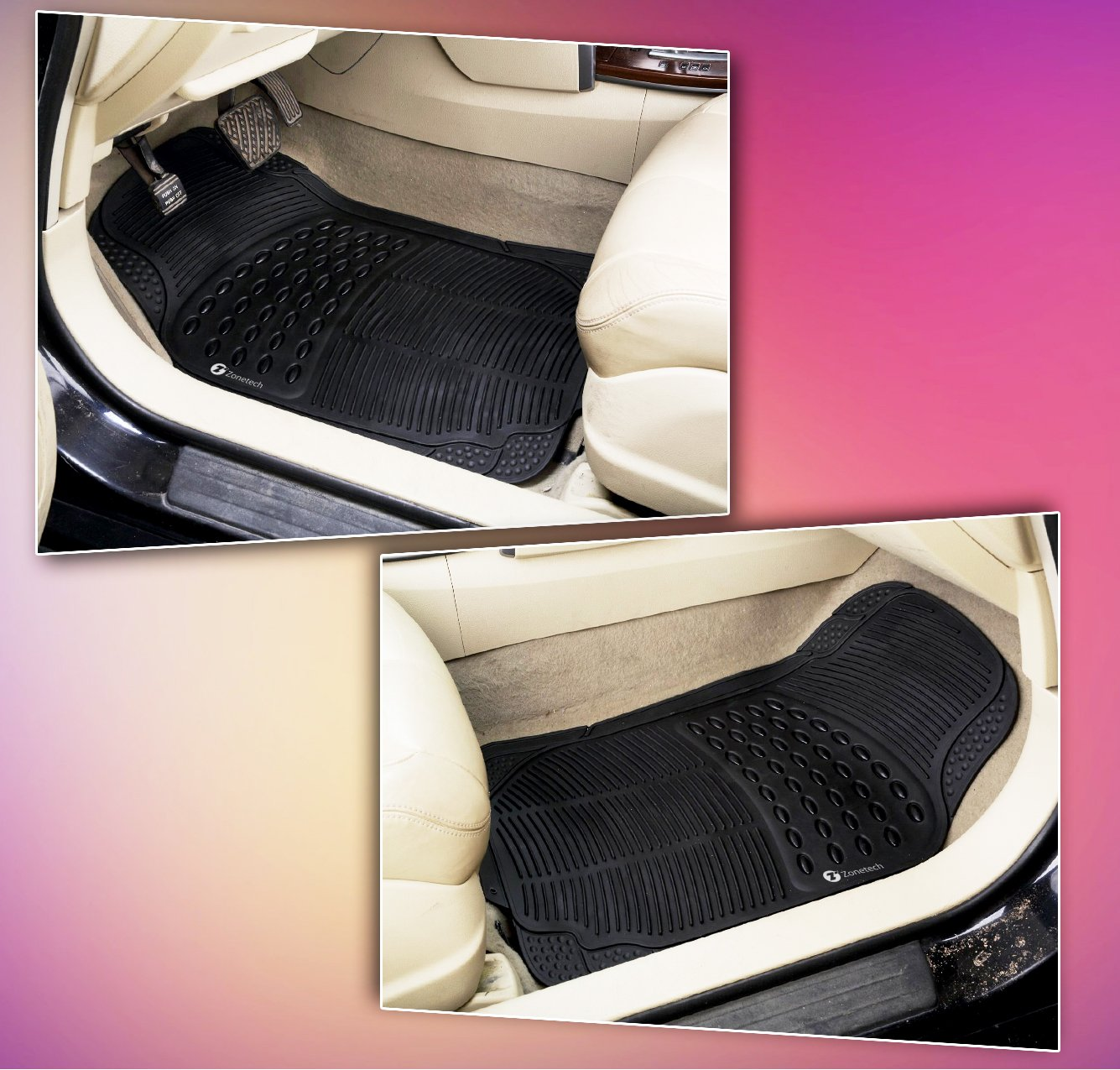 zone tech black rubber semi pattern car interior 2 front floor mats trimmable ebay. Black Bedroom Furniture Sets. Home Design Ideas