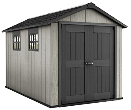 Keter Oakland 7.5 X 11 Outdoor Duotech Storage Shed, Paintable With Two  Windows And A
