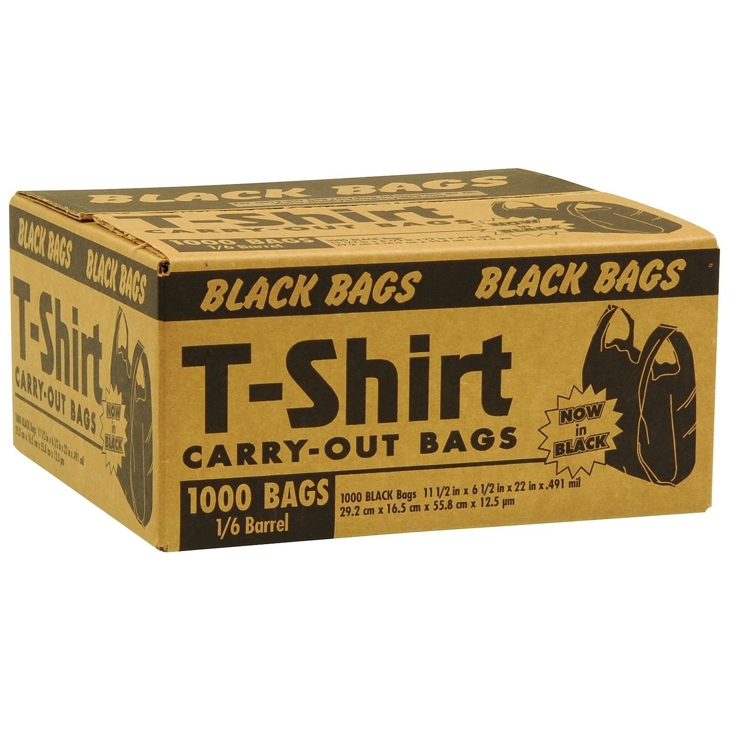 Black T-Shirt Carryout Bags (1,000 ct.) by Poly-America