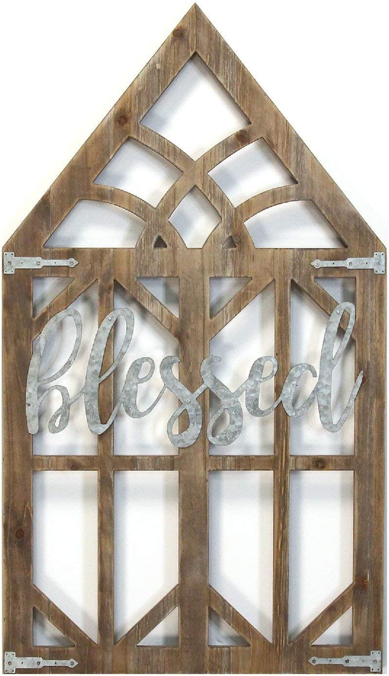 Stratton Home Décor Stratton Home Blessed Laser Cut Wood Window Frame Wall Decor, 20.08