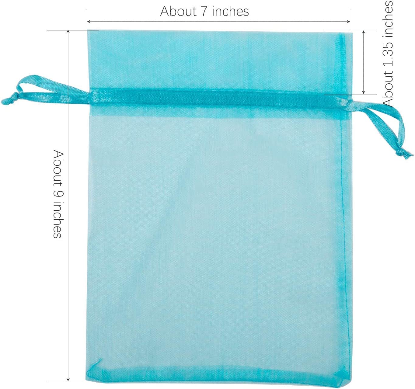 Texplus 100Pcs Drawstring Organza Gift Candy Jewelry Party Pouch Bags Gold, 6Wx8L