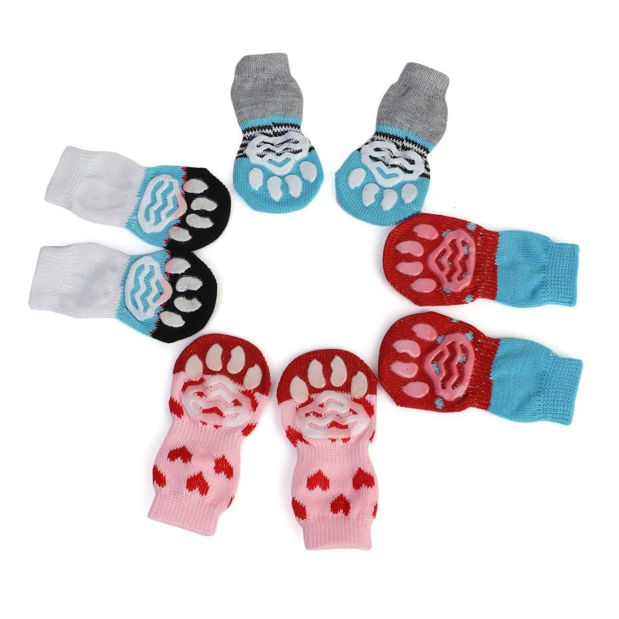 Patrón lindo Calcetines para mascotas Suave puro Algodón Perros Gatos Calcetines Calcetines dulces de piso para interiores Suministros para mascotas Para la ...