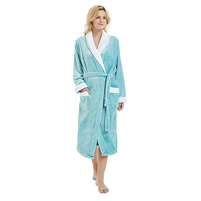 M&M Mymoon Womens Fleece Robe Long Soft Plush Winter Bathrobe Shawl Collar Homewear (2XL/3XL, Mint/White) best women's bath robes
