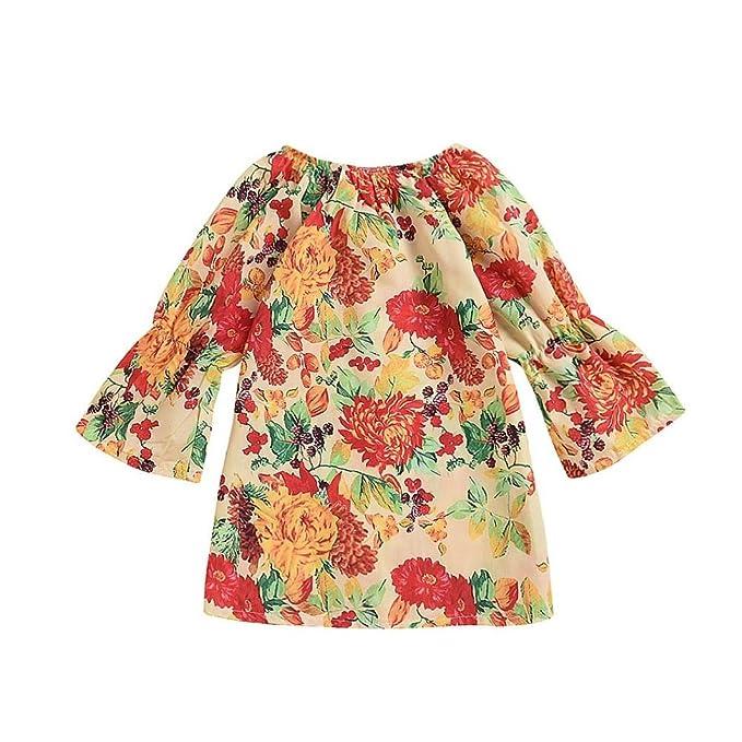 Vestido Casual Para Niños Princesa, infantil Niño Niñas Estampado Floral Princesa Ropa Informal Ropa