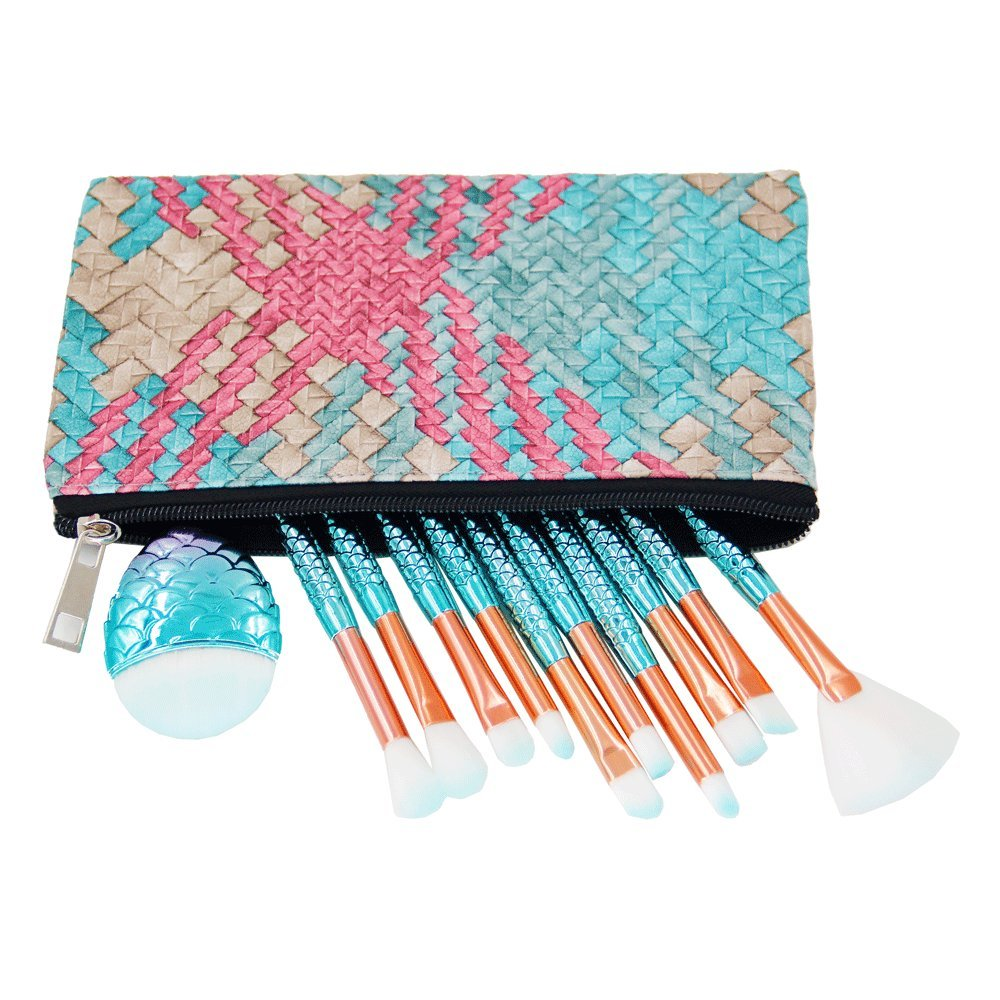 Mermaid Makeup Brushes Sets, NIZIYI 11PCS Mermaid Makeup Cosmetic Brush Set Soft Nylon Bristles Beauty Brushes Kit Foundation Powder Cream Eyebrow Eyeliner Blush Cosmetic Concealer Brush with Cosmetic Bag (Style 6)