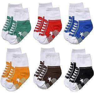 EPEIUS ベビー靴下 ボーイズオシャレソックス 滑り止め付き かわいい 快適 幼児 男の子 赤ちゃん 柔らかい 7-15cm 0-5歳 6足セット(6A79)