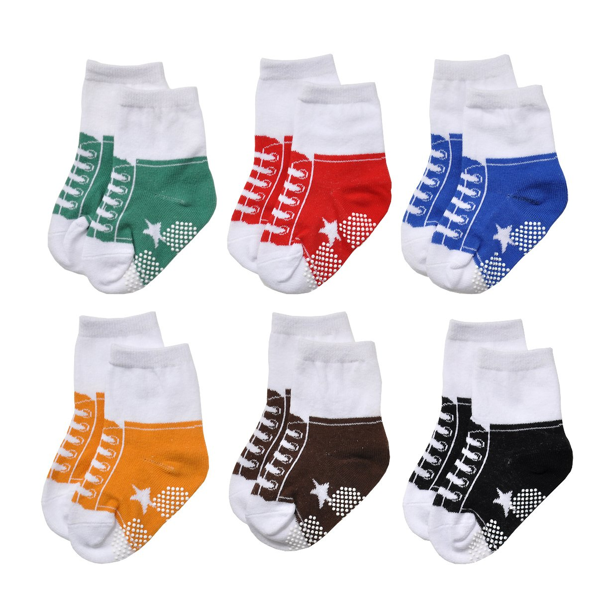 Epeius Unisex Baby Non-Slip Socks Like Shoes Infant Boys/Girls Anti Slip Booties for 0-12 Months (Set of 6),Black/White/Blue/Yellow/Brown/Green