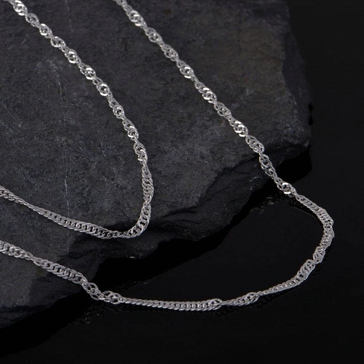 Aokarry Chain Necklace for Pendant Silver Water Wave Chain Necklace for Women 20 Inches