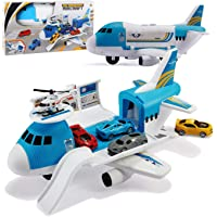 Tuko Transport Cargo Airplane Car Toy Play Set for 3+ Years Old Boys and Girls(Blue)