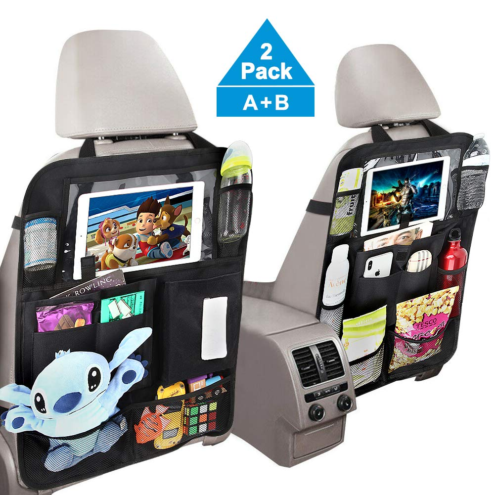 Backseat Car Organizer with Touch Screen Tablet Holder Tissue Box Tocode, Car Seat Protector Kick Mats Multi Storage Pockets for Kids Toy Book Bottle Baby Travel Accessories 2 Pack by Tocode