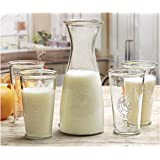 Circleware Ranch Rooster, Set of 5, 4-16 ounce Glass Milk Drinking Bottles, 1-40 ounce Carafe Beverage Water Juice Pitcher