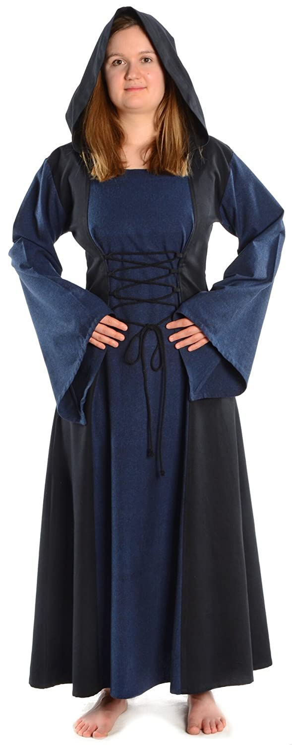HEMAD Women's Medieval Dress - Hood, Front & Back Lacing, Cotton - L Blue & Black