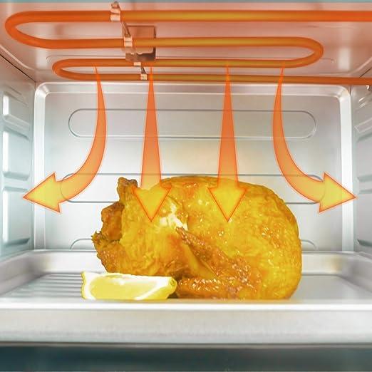 Grunkel - HR-28N RM - Horno eléctrico multifunción de sobremesa de 28l con 3 funciones de calor y selector de temperatura hasta 230ºC. Temporizador hasta 60 min - 1600W - Negro: Amazon.es: Hogar