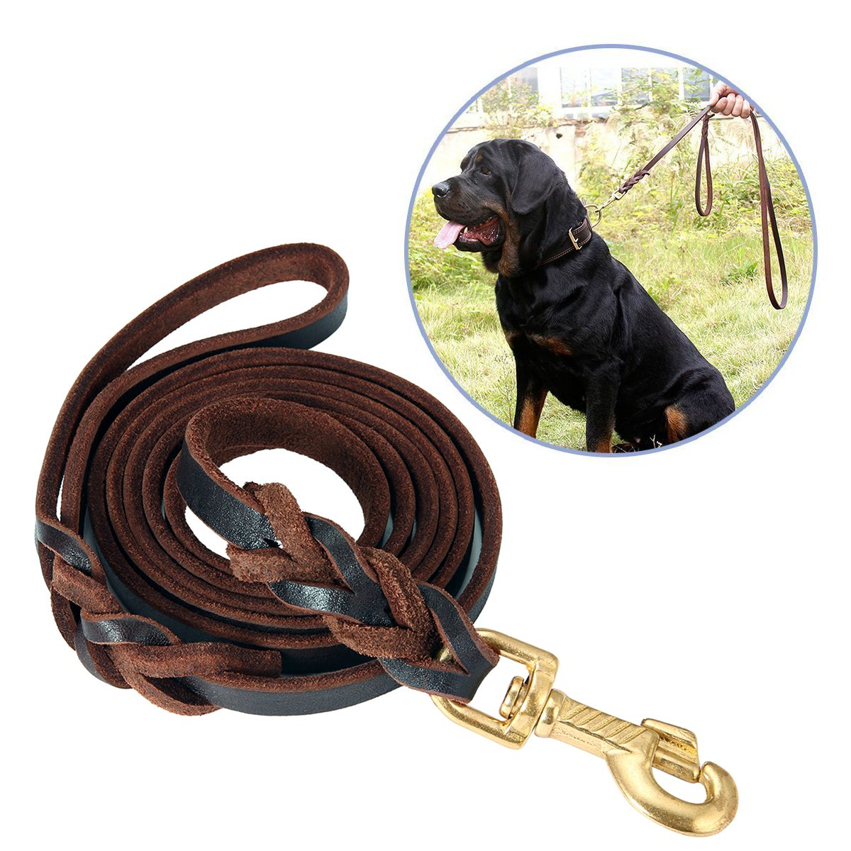 FOCUSPET Leather Dog Leash 6 ft Leather Dog Training Leash Pet Braided Dog Leash for Large Medium Leads Rope Dogs Walking&Training (1/2 Inch,Brown)