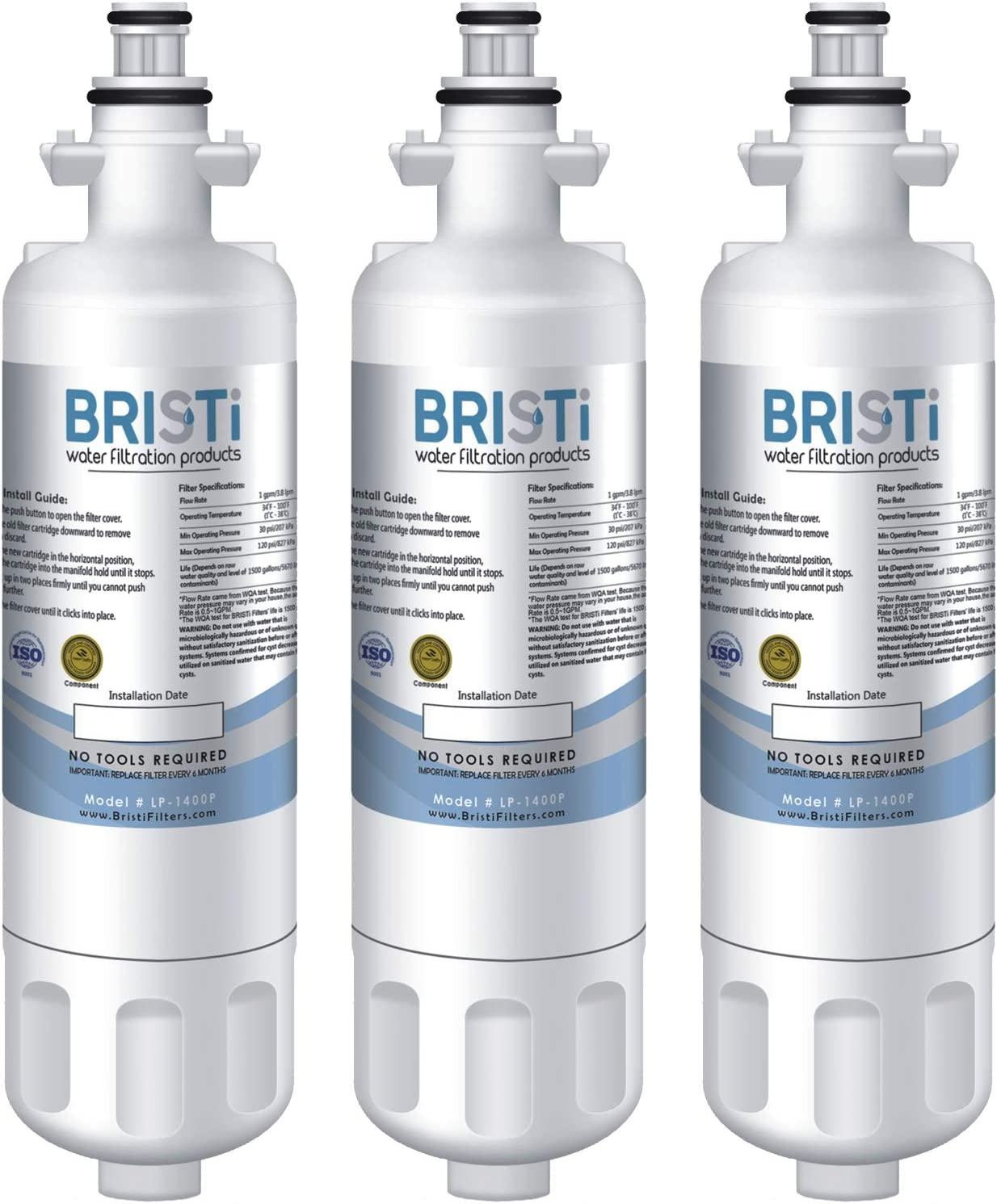 Bristi Refrigerator Water Filter 9690 Compatible LG Models: LT700P, ADQ36006101, ADQ36006102. Compatible Kenmore Models: 9690 & 46-9690. – Replacement for Refrigerators LP-1400P (3 Pack)