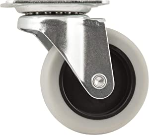 TPR Rubber Caster Wheel with Swiveling Top Plate - 3-Inch - 110 lb. Load Capacity - Non-Marking for Use in Hospitals, Food Service, & Other Institutional Applications