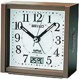 SEIKO CLOCK (セイコークロック) 目覚まし時計 電波 アナログ カレンダー・温度 切替表示 茶メタリック KR330B