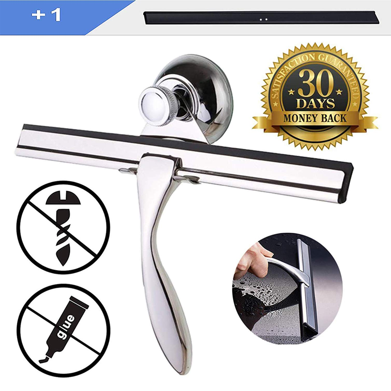 FCXZSSY Shower Squeegee,Bathroom Squeegee Shower Doors Glass Squeegee +1 Replacement Rubber Blade,Stainless Steel squeegee shower cleaner for Glass Cleaning with Suction Cup Hooks (Metal color)