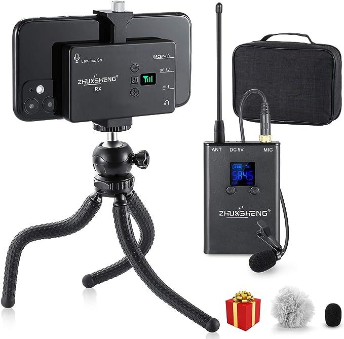 Micrófono Inalámbrico Solapa Recargable 20 canales Omnidirectoinal UHF Microfono de Solapa Inalambrico para Teléfono Inteligente iPhone Android Cámara ...