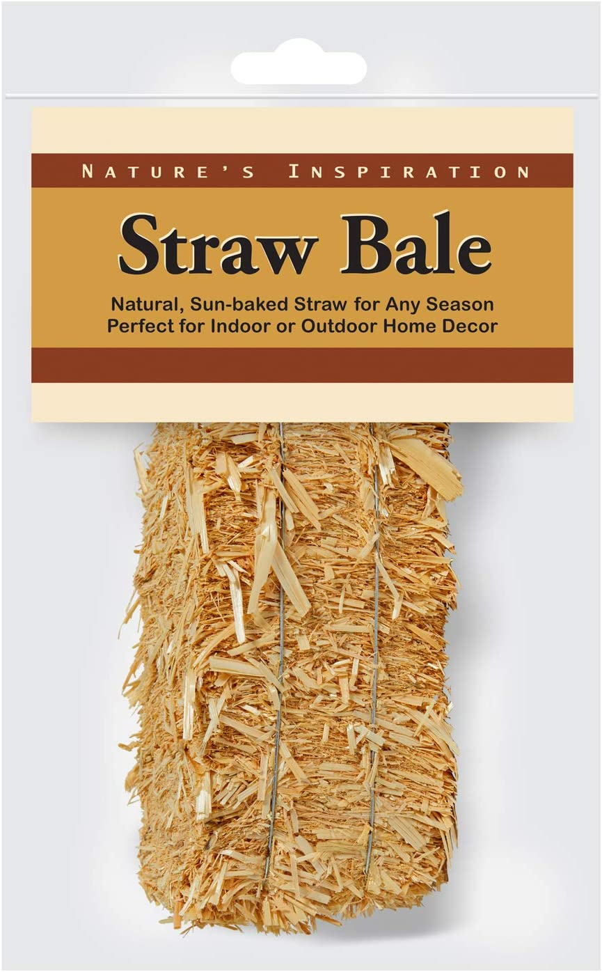 FloraCraft Decorative Straw Bale 2.5 Inch x 2.5 Inch x 5 Inch Natural