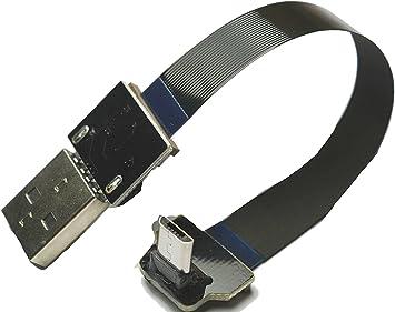 Kurze weiche FFC Micro USB abgewinkelt FPV Flache schlanke d/ü nne Ribbon FPC Kabel Micro USB 90 Grad abgewinkelt Stecker auf Standard USB Ein Stecker f/ü r Sync Schwarz LY 10CM