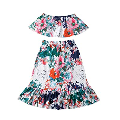 4e0accdc2e6 Mericiny Toddler Kids Baby Girl Off-Shoulder Tops +Flowers Long Skirts 2pcs  Outfits Summer Clothes