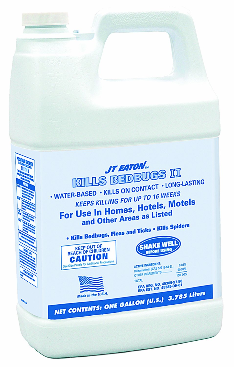 JT Eaton 207-W1GP Kills Bedbugs II Water Based Kills Bedbug Spray with Sprayer Attachment, 4 Gallon Container Professional Label