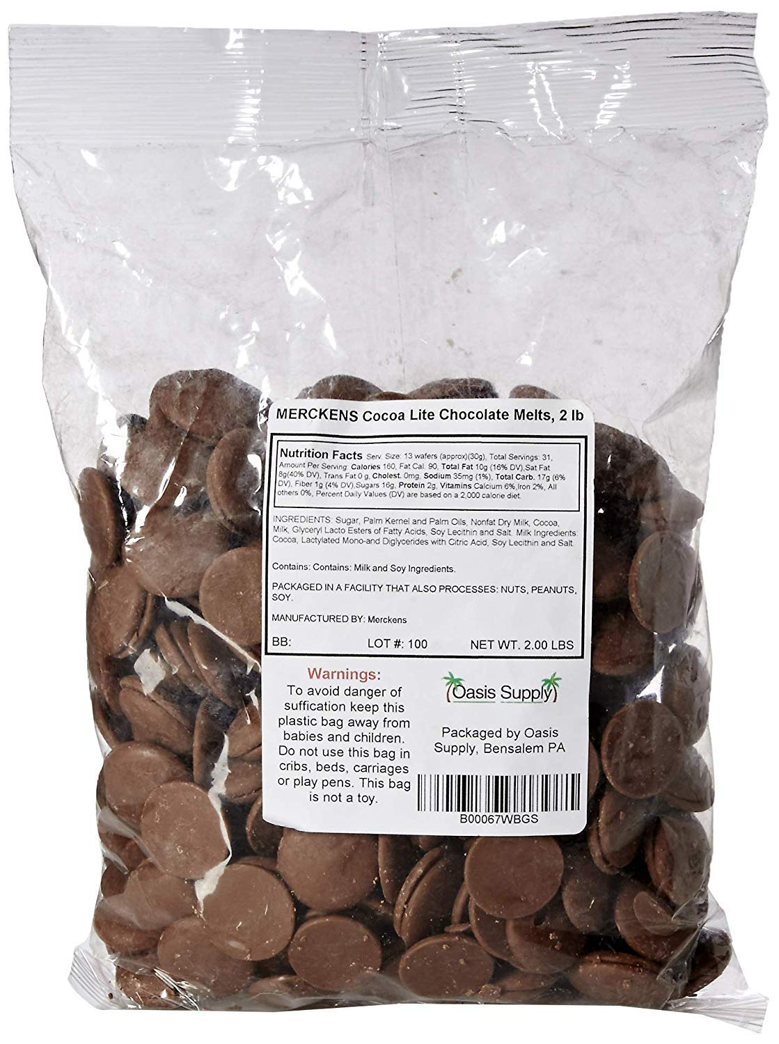 Oasis Supply Mercken's Chocolate Wafters Candy Making Supplies, Milk, 10 Pound by Oasis Supply