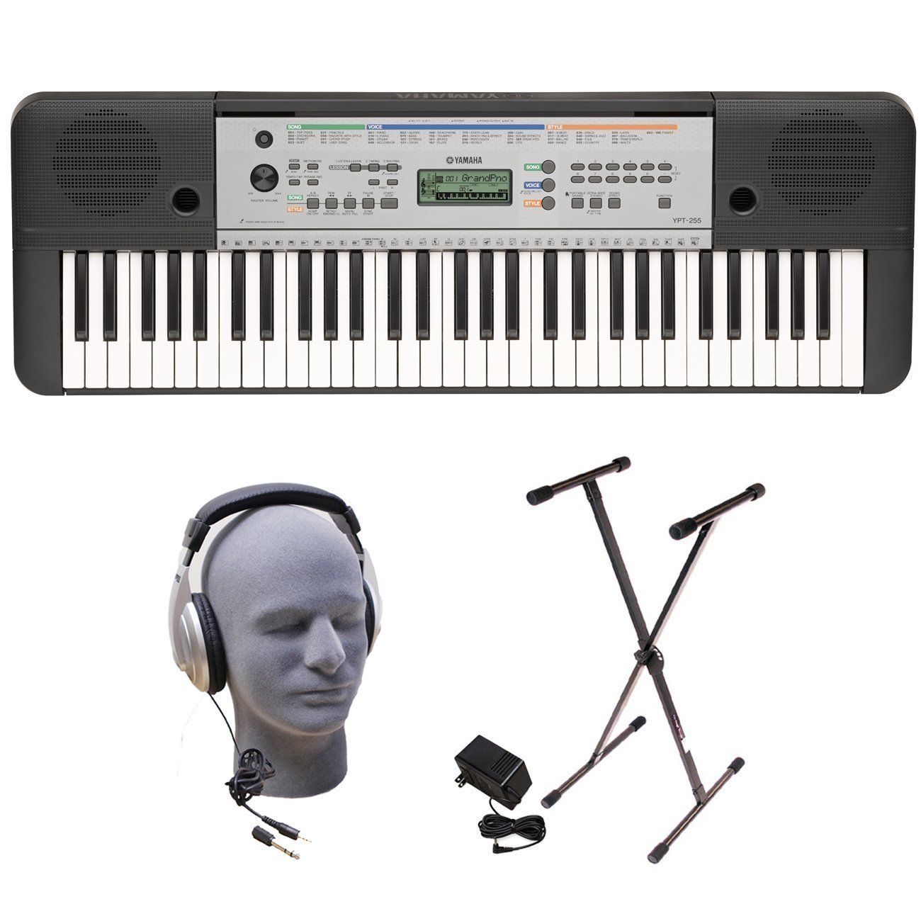 Yamaha YPT255 61-Key Keyboard Pack with Headphones, Power Supply, and Stand