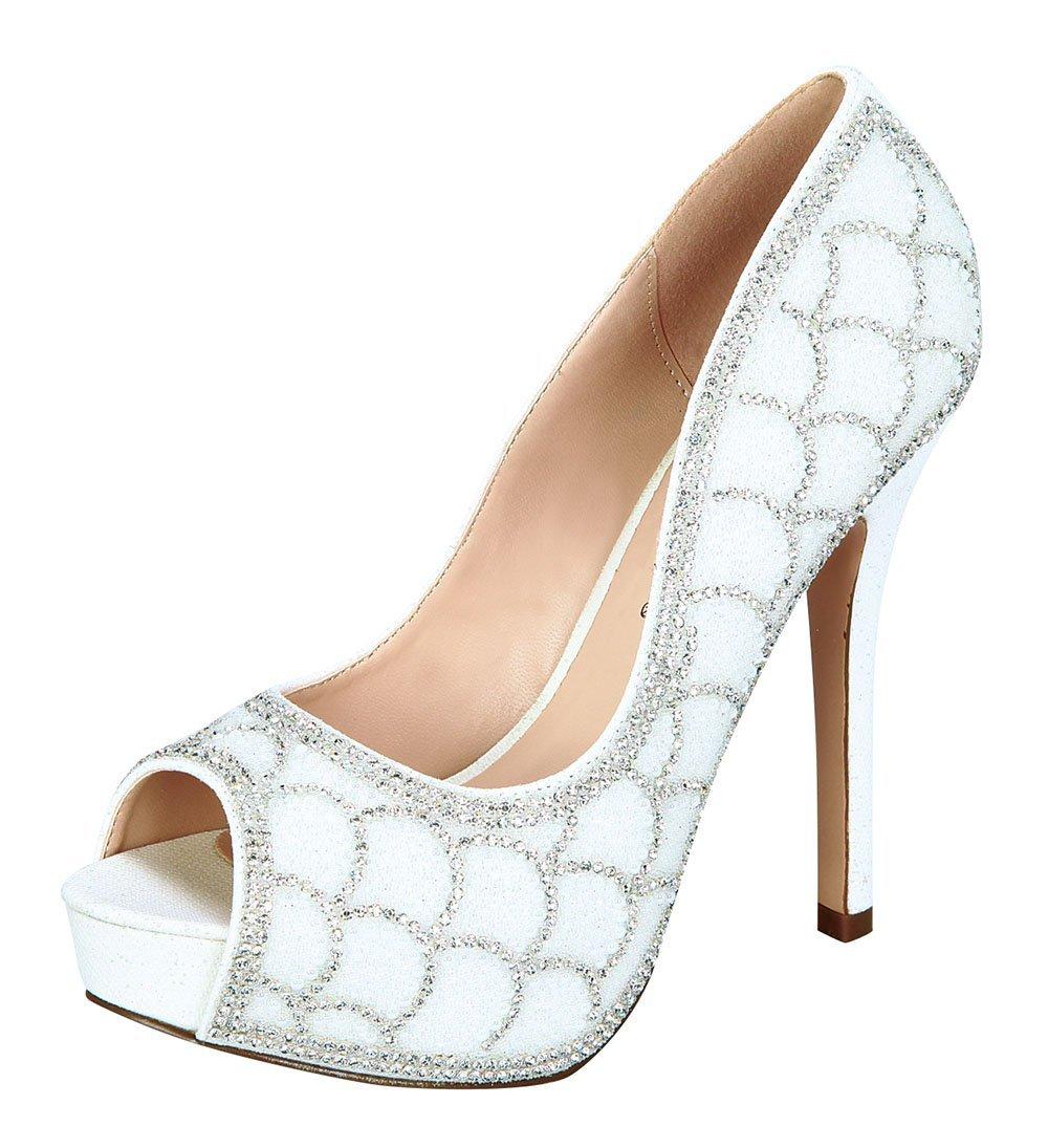 De Blossom Collection Women's Scalloped Rhinestone Detail Peep Toe Platform Pump White 8