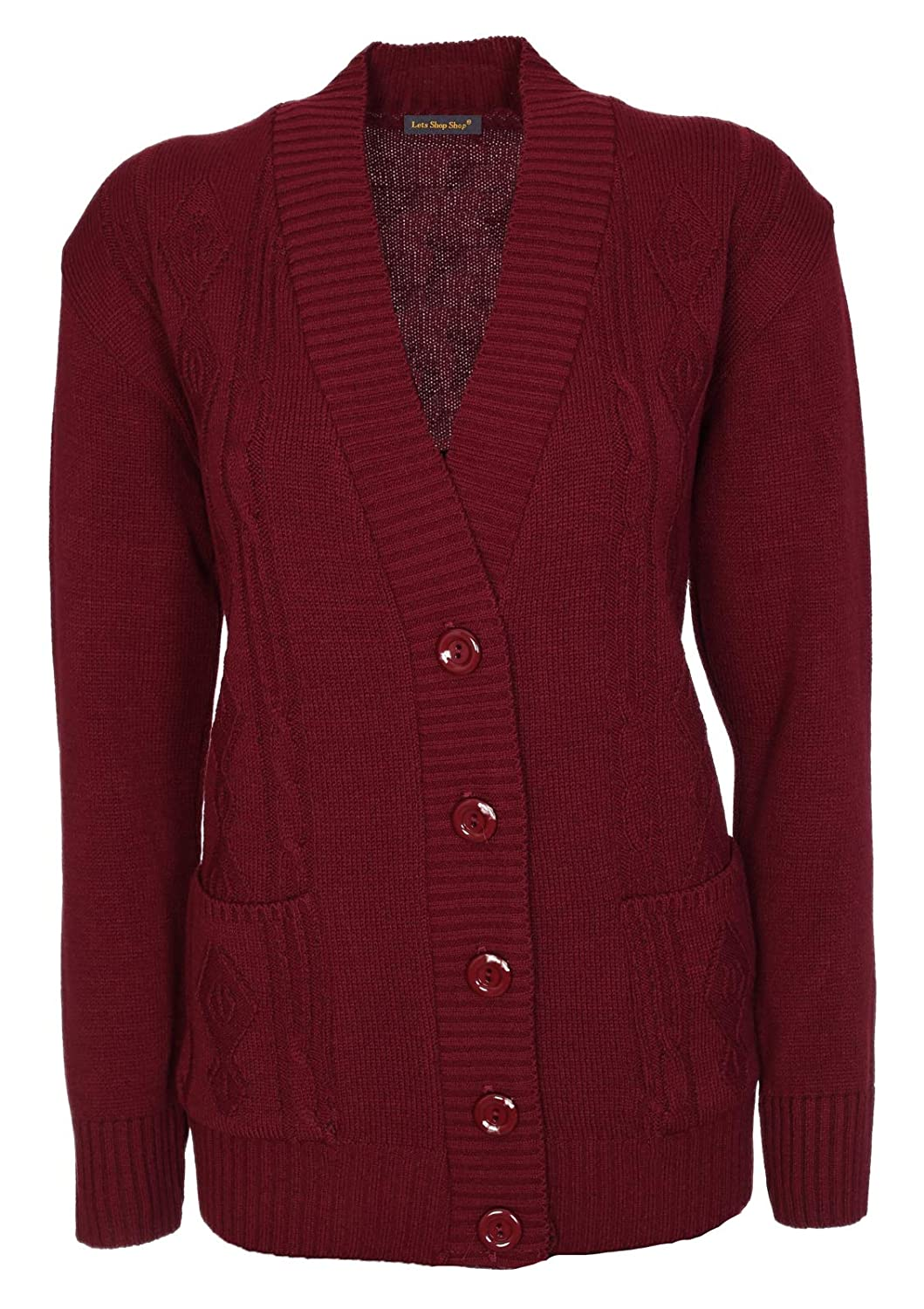 Lets Shop Shop New Classic Womens Cardigan Ladies Sizes 10-20 Cable Knit Long Sleeve Aran Type